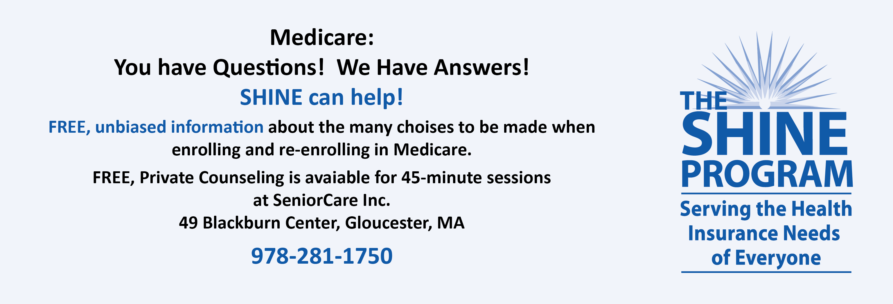 SHINE Medicare Counseling at SeniorCare